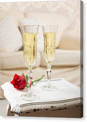 Champagne And Rose Canvas Print by Amanda Elwell
