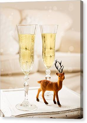 Champagne At Christmas Canvas Print by Amanda Elwell