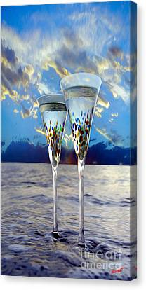 White Wine Canvas Print - Champagne At Sunset by Jon Neidert