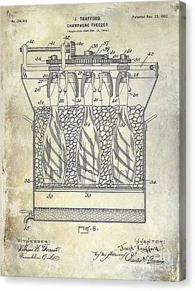 Champagne Bottle Freezer Patent 1902 Blue Canvas Print by Jon Neidert
