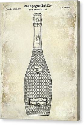 Champagne Bottle Patent Drawing Canvas Print