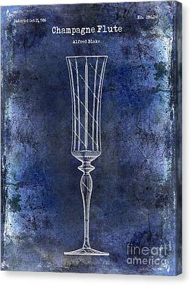 Champagne Flute Patent Drawing Blue 2 Canvas Print by Jon Neidert