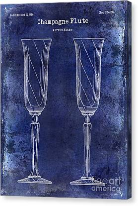 Champagne Flute Patent Drawing Blue Canvas Print by Jon Neidert