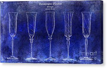 Champagne Flutes Design Patent Drawing Blue Canvas Print by Jon Neidert