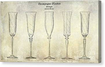 Champagne Flutes Design Patent Drawing Canvas Print by Jon Neidert