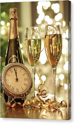 Champagne Glasses Ready To Bring In The New Year Canvas Print by Sandra Cunningham