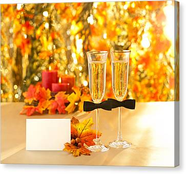 Champagne Glasses With Conceptual Same Sex Decoration For Gay Me Canvas Print by Ulrich Schade