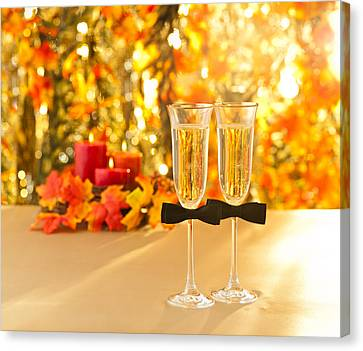 Champagne Glasses With Conceptual Same Sex Decoration For Gay Canvas Print by Ulrich Schade