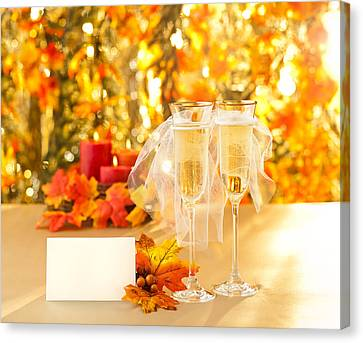 Champagne Glasses With Conceptual Same Sex Decoration  Canvas Print by Ulrich Schade
