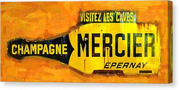 Champagne Mercier Signage Canvas Print by Ron Regalado