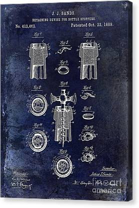 Champagne Retaining Device Patent 1889 Blue Canvas Print