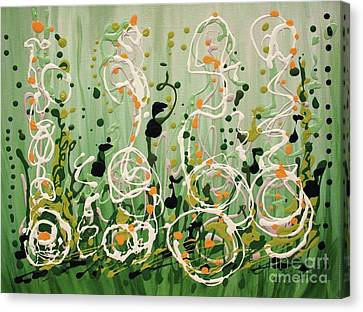 Canvas Print featuring the painting Champagne Symphony by Holly Carmichael