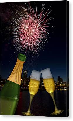 Champagne Toast With Portland Oregon Skyline Canvas Print