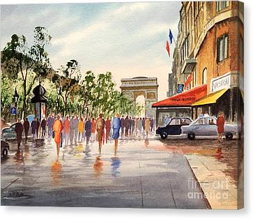 Champs Elysees And Arc De Triomphe Canvas Print by Bill Holkham