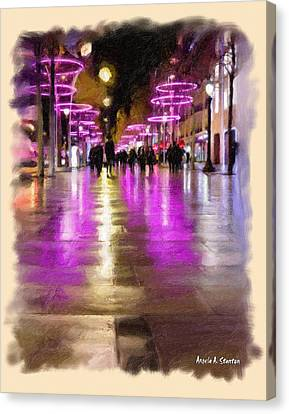 Champs Elysees In Pink Canvas Print by Angela A Stanton