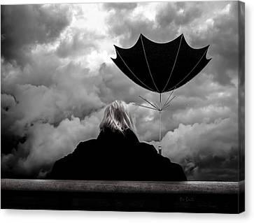 Chance Of Rain   Broken Umbrella Canvas Print by Bob Orsillo