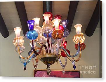 Chandelier At The Hotel California Canvas Print by Linda Queally