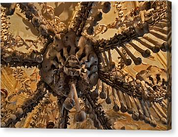 Chandelier Made Of Bones And Skulls. Canvas Print by Andy Za