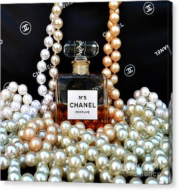 Chanel No 5 With Pearls Canvas Print by To-Tam Gerwe
