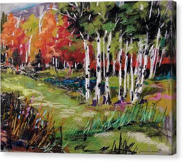 Canvas Print featuring the painting Changing Birches by John Williams