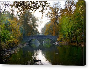 Changing Leaves At Bells Mill Road Bridge Canvas Print
