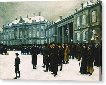 Changing Of The Guard At Amalienborg Palace Canvas Print by Paul Fischer
