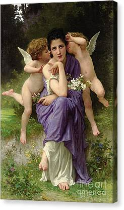 Chansons De Printemps Canvas Print by William Adolphe Bouguereau