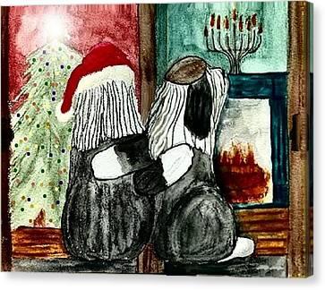 Chanukah Christmas Friends Canvas Print