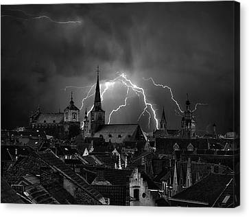 Chaos In The Sky Of Bruges Canvas Print
