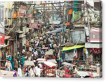Chaotic Streets Of New Delhi In India Canvas Print