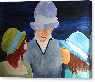 Canvas Print featuring the painting Chapeaux Trois by Sandy McIntire