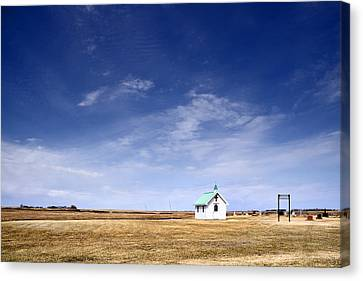 Chapel And Cemetary On Prairie Canvas Print by Donald  Erickson