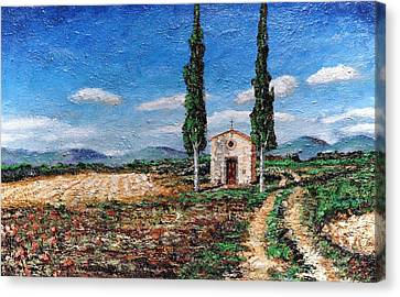 Chapel And Two Trees, Tuscany, 2005 Oil On Board Canvas Print by Trevor Neal
