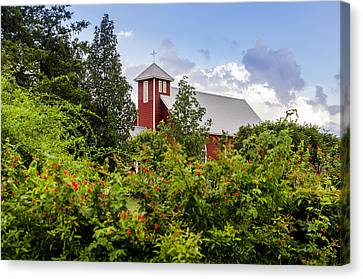 Chapel At The Antique Rose Emporium Canvas Print by David Morefield