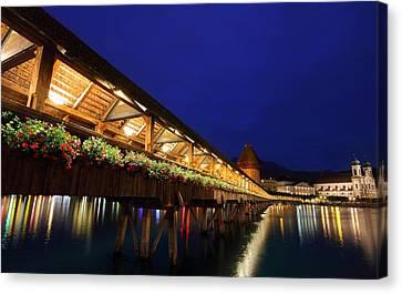Chapel Bridge At Lucerne In Switzerland Canvas Print by Jetson Nguyen