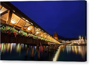Chapel Bridge At Lucerne In Switzerland Canvas Print by Jetson Nguyen
