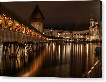 Chapel Bridge Lucerne Canvas Print by Caroline Pirskanen