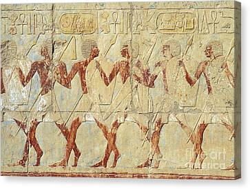 Canvas Print featuring the relief Chapel Of Hathor Hatshepsut Nubian Procession Soldiers - Digital Image -fine Art Print-ancient Egypt by Urft Valley Art