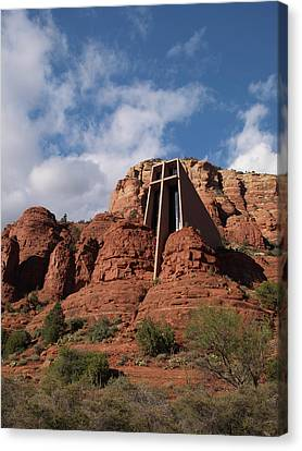 Canvas Print featuring the photograph Chapel Of The Holy Cross by Harold Rau