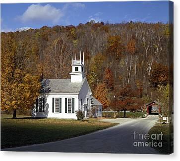 Chapel On The Green, Vermont Canvas Print by Rafael Macia