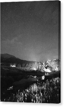 Chapel On The Rock Stary Night Portrait Bw Canvas Print by James BO  Insogna
