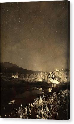 Chapel On The Rock Stary Night Portrait Monotone Canvas Print