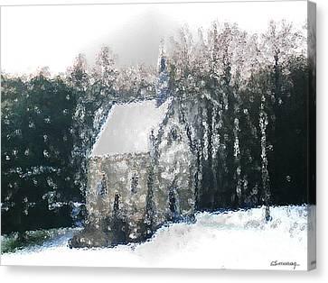 Chapel Under Snow Canvas Print by Christian Simonian