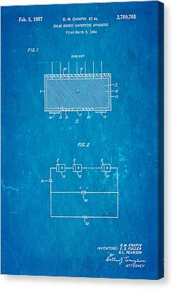 Chapin Solar Cell Patent Art 1957 Blueprint Canvas Print by Ian Monk