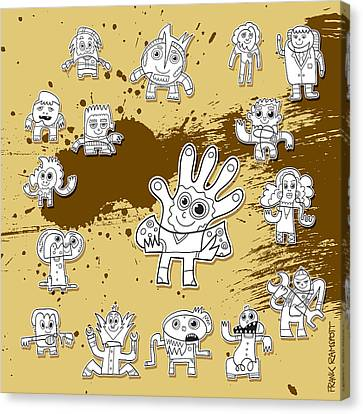 Character Doodles Urban Grunge Canvas Print