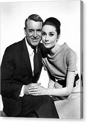 Charade Cary Grant Audrey Hepburn Canvas Print by Silver Screen