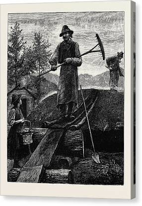 Charcoal Burners In The Alps Canvas Print by English School