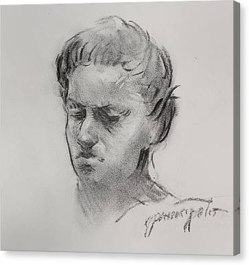 Charcoal Portrait Sketch Canvas Print by Ernest Principato