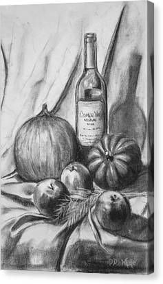 Canvas Print featuring the drawing Charcoal Still Life Harvest by Dee Dee  Whittle