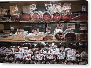 Charcuterie On Display In Butcher Shop In Old Nice Canvas Print by Elena Elisseeva